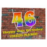 [ Thumbnail: 46th Birthday: Fun, Graffiti-Inspired Rainbow # 46 Gift Bag ]
