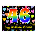[ Thumbnail: 46th Birthday: Fun Hearts Pattern, Rainbow 46 Postcard ]