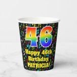 [ Thumbnail: 46th Birthday: Fun Music Notes Pattern, Rainbow 46 ]