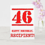 [ Thumbnail: 46th Birthday: Fun, Red Rubber Stamp Inspired Look Card ]