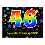 [ Thumbnail: 46th Birthday: Fun Stars Pattern, Rainbow 46, Name Postcard ]