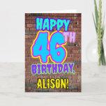 [ Thumbnail: 46th Birthday - Fun, Urban Graffiti Inspired Look Card ]
