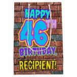 [ Thumbnail: 46th Birthday: Fun, Urban Graffiti Inspired Look Gift Bag ]