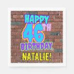 [ Thumbnail: 46th Birthday ~ Fun, Urban Graffiti Inspired Look Napkins ]