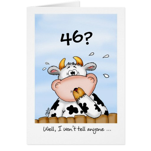 46th Birthday Humorous Card With Surprised Cow Zazzle Happy 46 Birthday Wishes