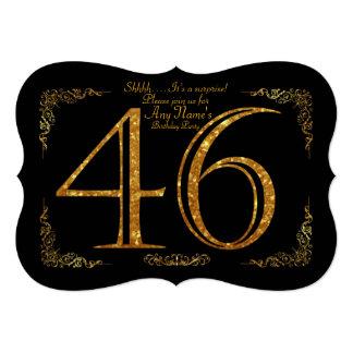 46th,Birthday party 46th,great Gatsby,black & gold Card