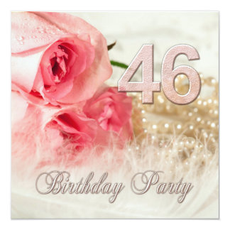 46th Birthday party invitation, roses and pearls Card