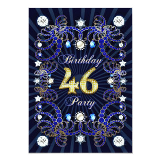 46th birthday party invite with masses of jewels