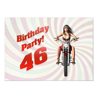 46th birthday party with a girl on a motorbike card