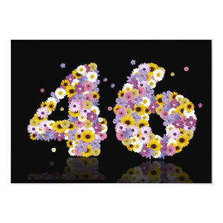 46th Birthday party, with flowered letters Card