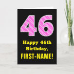"[ Thumbnail: 46th Birthday: Pink Stripes and Hearts ""46"" + Name Card ]"