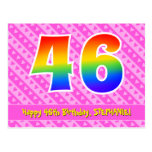 [ Thumbnail: 46th Birthday: Pink Stripes & Hearts, Rainbow 46 Postcard ]