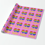 [ Thumbnail: 46th Birthday: Pink Stripes & Hearts, Rainbow # 46 Wrapping Paper ]