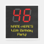 "[ Thumbnail: 46th Birthday: Red Digital Clock Style ""46"" + Name Napkins ]"