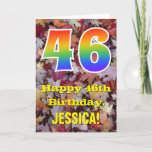 "[ Thumbnail: 46th Birthday; Rustic Autumn Leaves; Rainbow ""46"" Card ]"