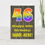 "[ Thumbnail: 46th Birthday: Rustic Faux Wood Look, Rainbow ""46"" Card ]"