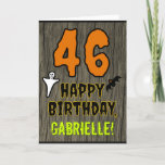 [ Thumbnail: 46th Birthday: Spooky Halloween Theme, Custom Name Card ]