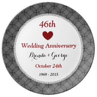 46th Wedding Anniversary Red and Silver A46A Dinner Plate