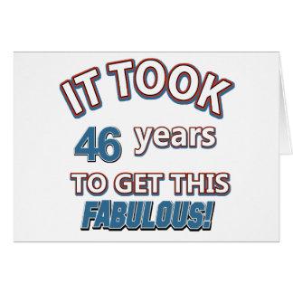 46th year birthday designs greeting card