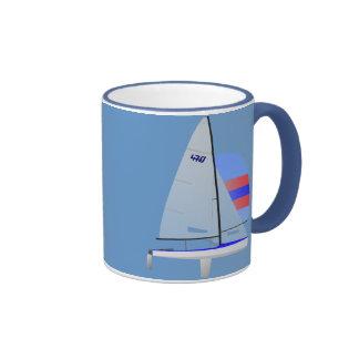 470 Class Racing Sailboat Ringer Coffee Mug