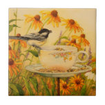 """4773 Chickadee on Teacup Tile<br><div class=""""desc"""">From an original water color by Ruth Garrison.</div>"""