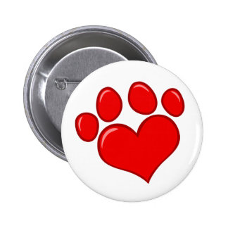 4782 RED HEART PAWS CAUSES ANIMALS LOVE CARING MOT 2 INCH ROUND BUTTON