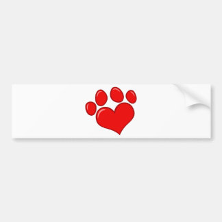 4782 RED HEART PAWS CAUSES ANIMALS LOVE CARING MOT CAR BUMPER STICKER