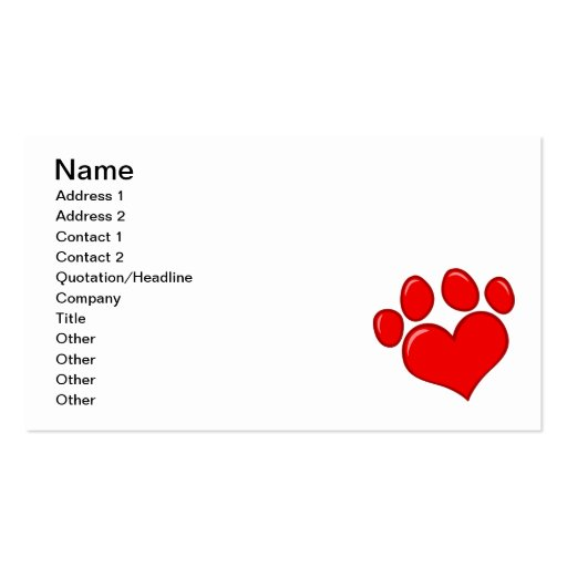 4782 RED HEART PAWS CAUSES ANIMALS LOVE CARING MOT BUSINESS CARD TEMPLATE