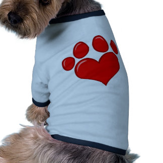 4782 RED HEART PAWS CAUSES ANIMALS LOVE CARING MOT DOGGIE TEE