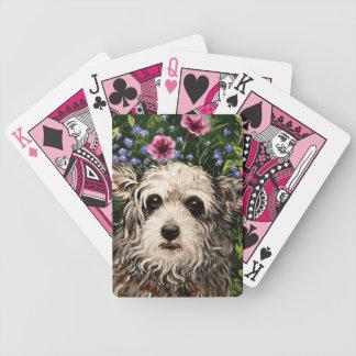 4796b Dog & Petunias Folk Art Bicycle Playing Cards