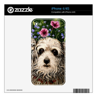 4796b Dog & Petunias Folk Art Skin For The iPhone 4S