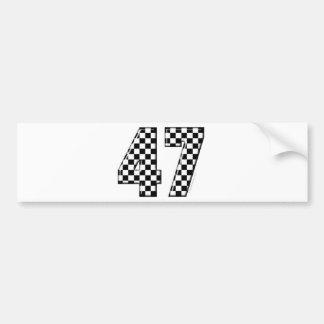 47 checkered number bumper sticker