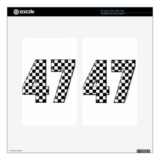 47 checkered number kindle fire decals