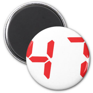 47 fourty-seven red alarm clock digital number 2 inch round magnet