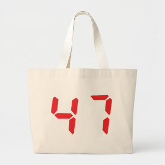 47 fourty-seven red alarm clock digital number canvas bag