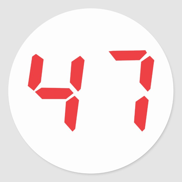 47 fourty-seven red alarm clock digital number classic round sticker