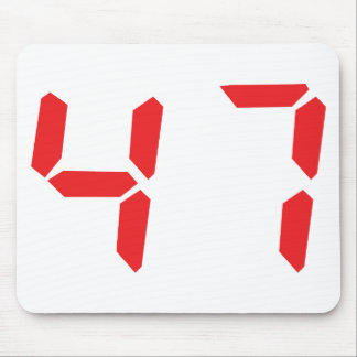 47 fourty-seven red alarm clock digital number mouse pad