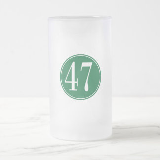 #47 Green Circle Frosted Glass Beer Mug