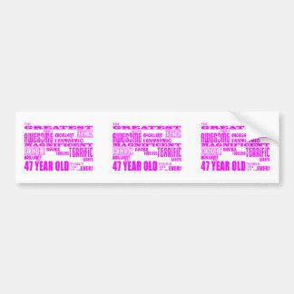 47.os cumpleaños cuarenta y siete más grande rosad pegatina para auto