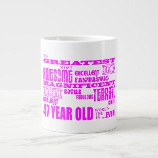 47.os cumpleaños cuarenta y siete más grande rosad taza grande