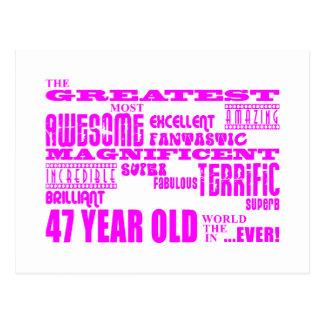 47.os cumpleaños cuarenta y siete más grande tarjetas postales