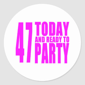 47.os cumpleaños de los chicas: 47 hoy y aliste pegatina redonda