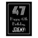 "[ Thumbnail: 47th Birthday — Art Deco Inspired Look ""47"" + Name Card ]"