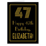 "[ Thumbnail: 47th Birthday: Art Deco Inspired Look ""47"" + Name Card ]"