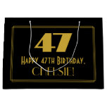 "[ Thumbnail: 47th Birthday — Art Deco Inspired Look ""47"" & Name Gift Bag ]"