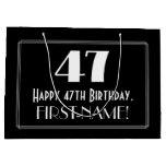 "[ Thumbnail: 47th Birthday: Art Deco Inspired Style ""47"", Name Gift Bag ]"