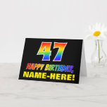 [ Thumbnail: 47th Birthday: Bold, Fun, Simple, Rainbow 47 Card ]