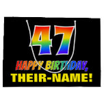 [ Thumbnail: 47th Birthday: Bold, Fun, Simple, Rainbow 47 Gift Bag ]