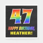 [ Thumbnail: 47th Birthday: Bold, Fun, Simple, Rainbow 47 Napkins ]