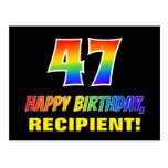 [ Thumbnail: 47th Birthday: Bold, Fun, Simple, Rainbow 47 Postcard ]